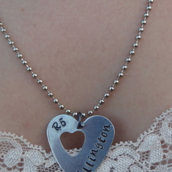 Hand Stamped Member Heart Necklace
