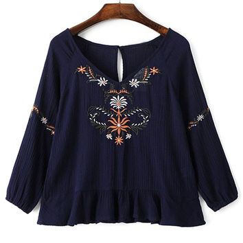 Navy Floral Embroidery Ruffled Hem Blouse