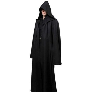 Men's Halloween Star Wars Jedi Coat Cos Cosplay Adult Dress Hoodie Cape Cape Halloween Costume Black Brown
