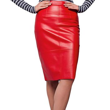2017 Womens Fashion PU Leather Skirt Press Stud Zip Back Saia Longa Slit Back High Waist Pencil Skirts Winter Bodycon Midi Skirt