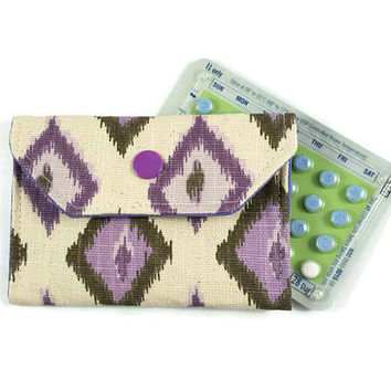 Ikat Snap Birth Control Pill Pouch,  Birth Control Pill Case, Gift Card Holder, Purple Pill Cover, Slim Wallet, Credit Card Holder