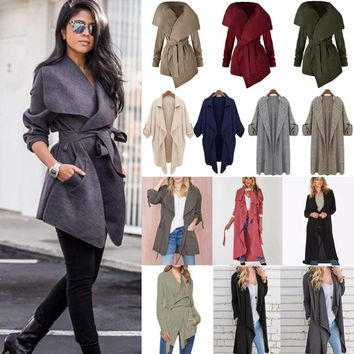 Womens Winter Trench Coat Duster Waterfall Hooded Long Jacket Wrap Drape Outwear