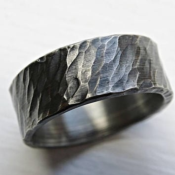 rustic viking ring black silver, mens forged ring, rugged silver ring, bold mens ring silver, rustic wedding band men bark textured ring