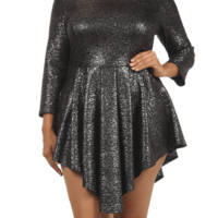 Plus Size Shine Bright Silver Glitter Skater Dress, Plus Size Clothing, Club Wear, Dresses, Tops, Sexy Trendy Plus Size Women Clothes