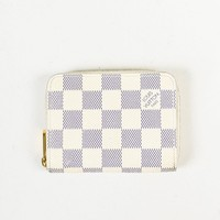 "Louis Vuitton White Blue ""Damier Azur"" Coated Canvas ""Zippy Coin Purse"" Wallet"