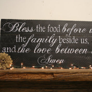 Bless The Food Before Us Wood Pallet Sign Kitchen Sign Dining Room Sign Distressed Wood Sign Rustic Chic Farmhouse Chic Shabby Chic Black