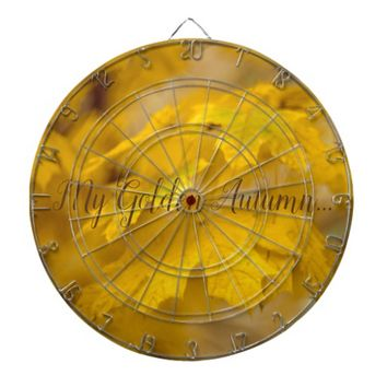 Yellow autumn maple leaves. Add text. Dart Board