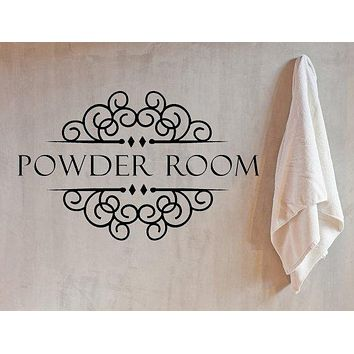 Powder Room Sign Bathroom Vinyl Wall Decal