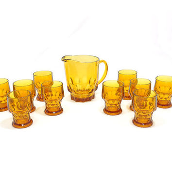 Vintage Glassware Set • 1960s Amber Pitcher + Glass Set • Anchor Hocking Georgian • Glasses + Matching Pitcher • Gold Glassware