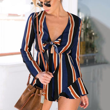 Sexy Navy Bow Striped Jumpsuit Romper