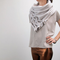 geometric wool shawl - superwarm sculptural wrap - triangular 100% wool scarf, creme, offwhite