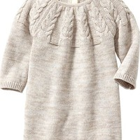 Marled Cable-Knit Sweater Dresses for Baby