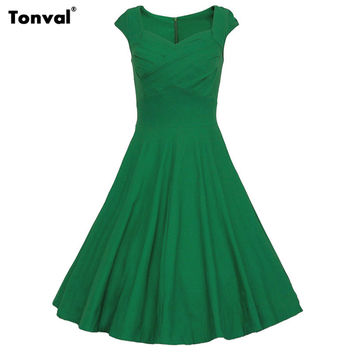 Tonval Women Rockabilly Swing Dress Summer Retro 50s Style Polka Dot Vintage Evening Party Sexy Elegant Cotton Dresses