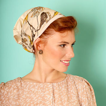 Beige head scarf – Floral headcovering  – Hair snoods – Satin Headpiece