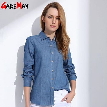 Denim Shirt Female Long Sleeve Shirt Womens Denim Blouse Classic Shirt Jeans 2018 Cotton Slim Tops Femme Clothing GAREMAY NZ03