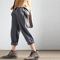 Women Pants 2017 Spring & Autumn Vintage Women's Fluid Solid Linen Pants Loose Trousers Female Harem Pants 2 Colors