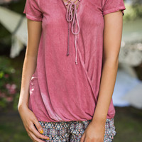 Basic Babe Lace Up Mineral Wash Surplice Top (Dusty Coral)