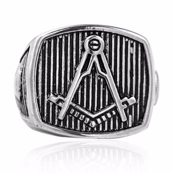 Square Compass Vintage Masonic Ring