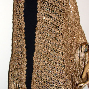 Gold Sequin  wedding Shawl triangle shawl Wrap Hand Crocheted Triangle Gold Silk Blend Yarn