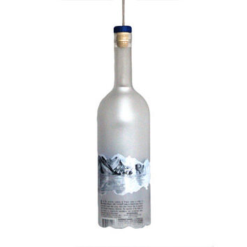 Vodka bottle hanging lamp  - Recycled Grey Goose vodka bottle ceiling hanging lamp - Home decor - office decor - Gift for him
