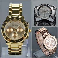 Unisex Mens Geneva Bling Stainless Steel Quartz Wrist Watch = 1956617668