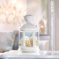 White Iron Contemporary Traditional Colonial Style Candle Lantern with Star Cutouts