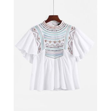 Angel Sleeve Embroidered Babydoll Blouse