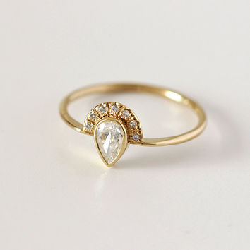 Pear Diamond Engagement Ring with Pave Diamonds Crown - 0.3 Carat Pear Diamond - 18k Solid Gold