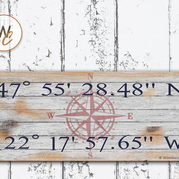 "Latitude Longitude Sign, Personalized 6""x14"" Rustic Sign, GPS Coordinates, Home Location, Housewarming Gift, Distressed Nautical Sign"