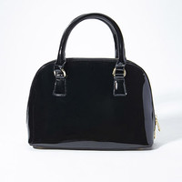 Faux Patent Leather Bowler Bag