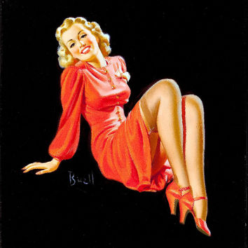Pin-Up Girl Wall Decal Poster Sticker - Lady in Red Dress - Blonde Pinup Pin Up