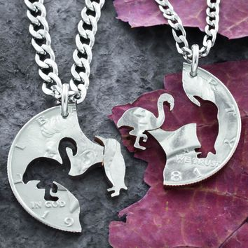 Penguin and Flamingo Necklaces, Best Friends,Coin jewelry by Namecoins