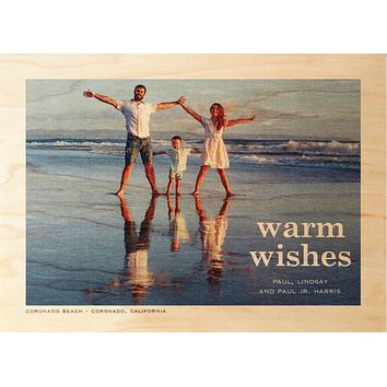 Warm Wishes Family Photo Card on Real Wood Veneer | Printed with Your Family Photo and Custom Holiday Greeting