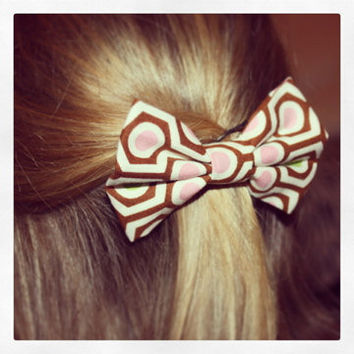 Brown Pink and Green Hair Bow by whnNdoubtPUTaBOWonIT on Etsy
