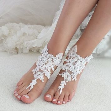 white or ivory lace barefoot sandals wedding barefoot Flexible wrist lace sandals Beach wedding barefoot sandals Wedding sandals Bridal Gift