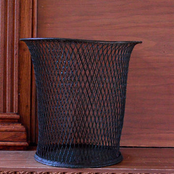 Vintage Expanded Metal Waste Basket, Mesh Trash Can, Green Metal Wire Garbage Can