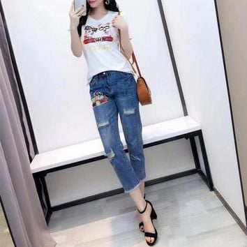Gucci Women Casual Fashion Sequin Dog Print Short Sleeve T-shirt Jeans Trousers Set Two-Piece