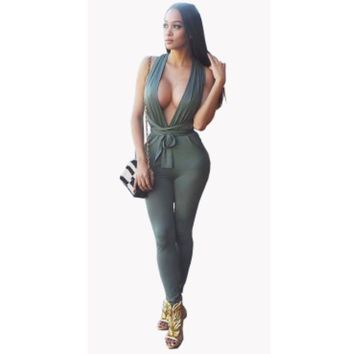 Backless sexy deep v neck long jumpsuit summer clothes for women 2017 best selling fashion overalls female clubwear jumpsuits H6