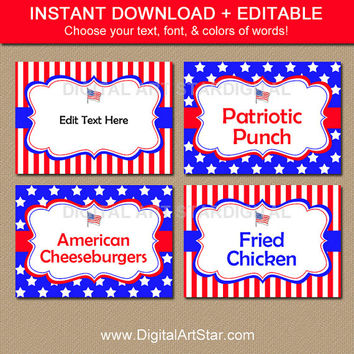 Patriotic Food Labels - 4th of July Labels - July 4th Birthday Labels - Fourth of July Buffet Cards - Printable Candy Buffet Label Download