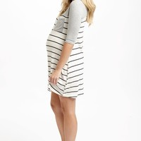 Grey Colorblock Striped Bottom Maternity Dress