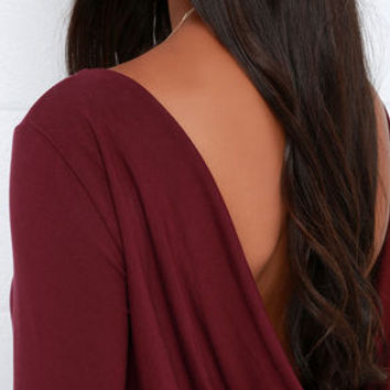 Right Back Atcha' Burgundy Long Sleeve Dress