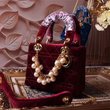 DIOR LADY MINI VELVET HANDBAG SHOULDER BAG