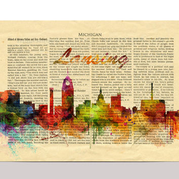 Lansing Watercolor Print, Michigan Lansing Cityscape Art Print, Watercolor Skyline
