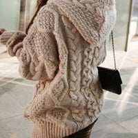 Stylish Women's Cable-Knit Hooded Cardigan,sweaters [9853042319]