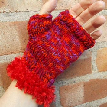 OFFER! -Red, orange and purple fingerless gloves with bright red fur trim - one size - OOAK - Buy 3 pairs, Get 1 pair free