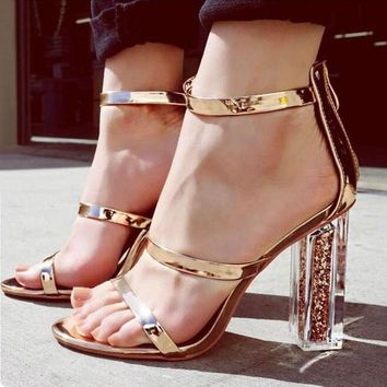 DiJiGirls Latest Women Open Toe Strappy Ankle Strap Gold Sandals Crystal Transparent Clear Block Thick High Heel Sequined Shoes