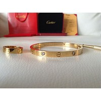 Cartier Gorgeous 18k Yellow Gold lOve Bracelet with Ring size 17cm