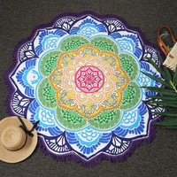 Lotus Flower Mandala Blanet, Boho Yoga Mat, Bohemian Blanket, Indian Tapestry