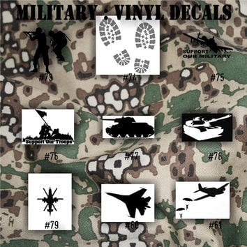 MILITARY vinyl decals - 73-89 - vinyl sticker - car decal - car window sticker - armed forces stickers - Army, Air Force, Navy and Marines