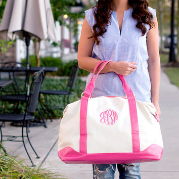 Monogram Canvas Weekender Bag - Pink Personalized Weekender Bag - Weekend Bag Women - Personalized Overnight Bags  Personalized Luggage